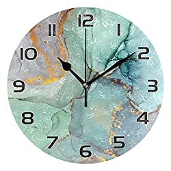 One Bear Modern Green and Gold Marble Texture Wall Clock, Vintage Silent Non Ticking Battery Operated Round Clock for Kitchen Office School Home Decor