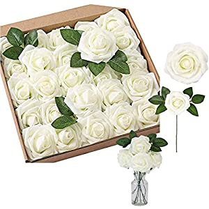 Silk Flower Arrangements Artificial Flowers Foam Rose 50 PCS Real Looking Rose Flower Heads with Stems for DIY Wedding Bouquets Baby Shower Corsages Centerpieces Arrangements Cake Flower Table Decorations (Ivory)