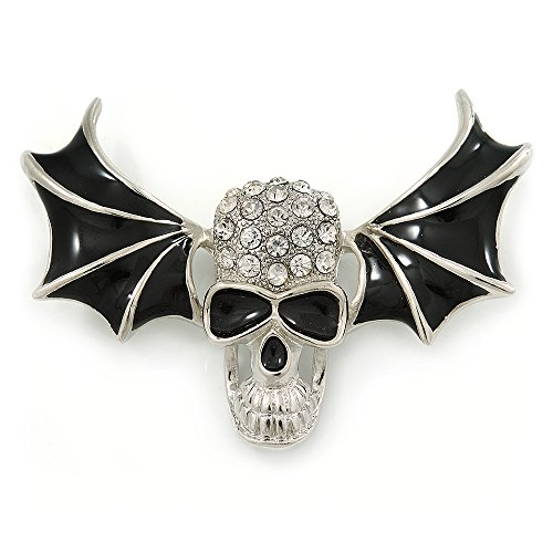 Avalaya Black Enamel, Clear Crystal Skull with Bat Wings Brooch in Silver Tone - 65mm Across