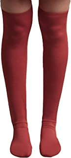 Señoras Calcetines Hasta La Rodilla Algodón De Longitud Elástico De Ropa festiva La Rodilla Calcetines Mujer Transpirable Vintage Calcetines Altos Color Sólido Suave (Color : Winered, Size : S)