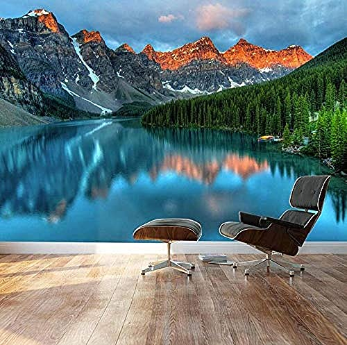 XHXI 3D Photo Wallpaper Tranquil Mountain Lake Landscape Wall Mural Removable Decor Self-Adhesive PVC Wall Stickers 3D Wallpaper Living Room The Wall for Bedroom Mural border-350cm×256cm