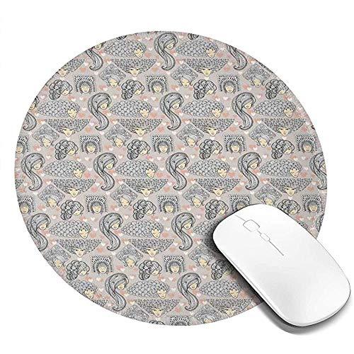Runde Mausunterlage Mausepad,Boho Style Doodle Girls Mit Dekorativen Verworrenen Frisuren Mit Blättern Und Blüten 20Cm Wasserdichtes Mousepad,Rutschfestes Mousemat