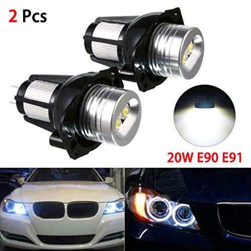 housesweet 20W Angel Eye LED Faros Halo Anillo Bombillas para BMW E90 E91 05-08, 1 par