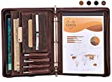 Padfolio with 3 Ring Binder(1'' O Ring), Padfolio Double Zipper, Resume Portfolio for Men/Women, Leather Portfolio Folder, Dark Brown