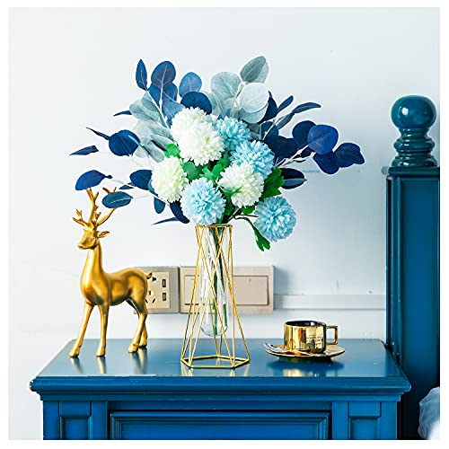 Blue Artificial Flowers with Vase and Gift Box, White Fake Silk Hydrangea Flores Artificiales para Decoracion, Table Centerpieces for Kitchen Dining Room Gifts for Women Blue Fake Flower
