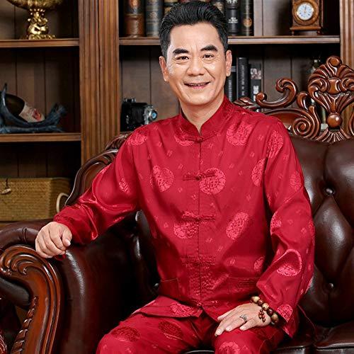 LINFENG Algodón Lino Tai Chi Conjunto para Hombres Chino Tradicional Espiga Traje Marcial Letras Ropa Camisas Pantalones (Color : Red, Size : Large)