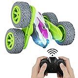 Achort RC Voiture Télécommandée avec LED 4WD Stunt Car avec Batterie Rechargeable 2.4Ghz Rotative Double Face à 360 Degrés Camion Radiocommandée, Voiture Jouet Cadeaux pour Enfants de 6 à 12 Ans