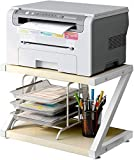 Desktop Stand for Printer - Desktop Shelf with Anti - Skid Pads for Space Organizer as Storage Shelf, Book Shelf, Double Tier Tray with Hardware & Steel for Mini 3D Printer by HUANUO (Wood)