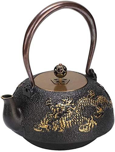 FJH Tetera de Hierro Fundido, Fundido Hecha a Mano del hogar 1.2L Mini dragón Doble clásico Tetera de Hierro Caldera de té Teaware con Mango