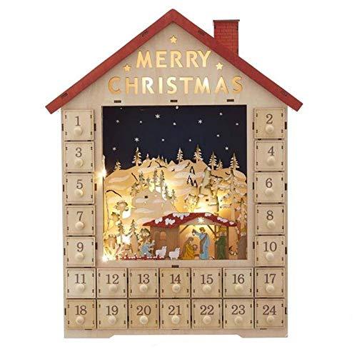 Kurt S. Adler 19-Inch Battery-Operated Light-Up House with Nativity Scene Advent Calendar, Multi