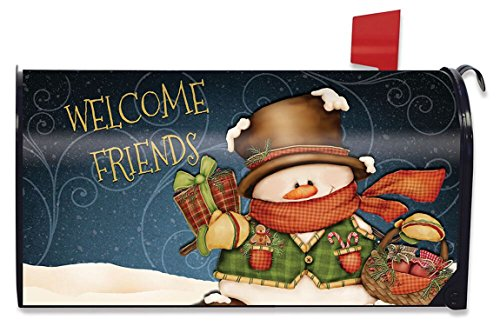 Briarwood Lane Welcome Friends Snowman Large Christmas Mailbox Cover Primitive Oversized