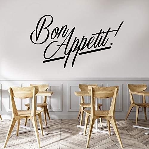 Diseño Fuente artística Francés BON APPETIT Comida occidental Logotipo Signo Etiqueta de la pared Vinilo Arte de la pared Calcomanía Restaurante Comedor Cocina Decoración para el hogar Mural