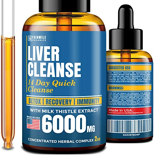 Liver Cleanse with 6000 MG Milk Thistle - Made in USA - Potent Liver Detox in Liquid Form for Best Absorption - 100% Natural Liver Support Supplement - Advanced Liver Detox Cleanse & Repair Formula