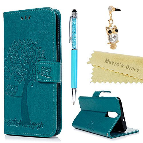 Huawei Mate 10 Lite Hülle Hülle Mavis's Diary Eule Baum Muster Leder Tasche Handyhülle Flipcase Skin Standfunktion Schale Abdeckung Kratzfest Stoßdämpfend Bumper Brieftasche Schutzhülle-Blau