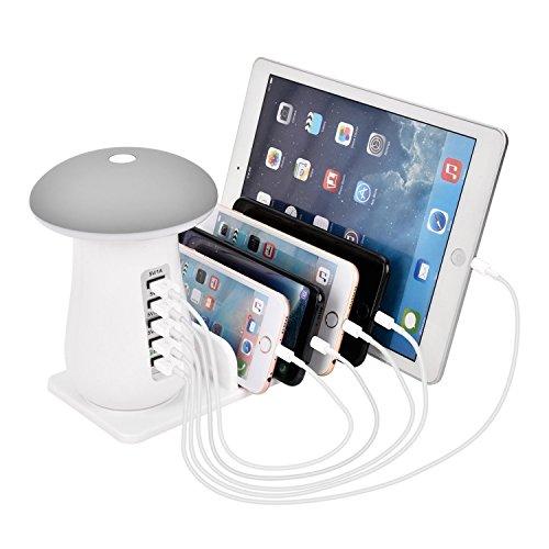 Estación de carga USB con lámpara de escritorio LED de seta 3.0 de carga rápida soporte de carga rápida compatible con iPhone 11 Pro Max XS MAX XR X 8 7 6S Plus iPad 4 Mini Pro Air Samsung Smartphones