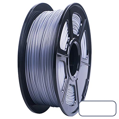 3D Printer PLA Filament 1.75mm Filament Dimensional Accuracy +/-0.02mm 2.2LBS 3D Printing Material for RepRap(silver)