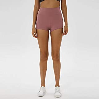 Tight Yoga Shorts Women's High Waist Lift Hips Abdomen Fitness Yoga Running Sports Pants,Pink(L)