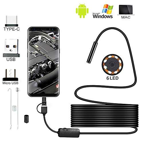 Surfmall Endoskop Endoskopkamera HD Digitale 3 in 1 wasserdichte Inspektionskamera mit LED Starre Schlangenkabel für Android Smartphones Mac (10m)