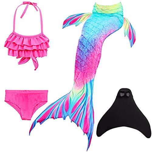 SPEEDEVE Niñas Disfraz de Sirena con Aleta para Nadar,DH02+WJF48,120cm