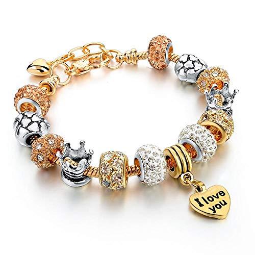 NA Armband SchmuckArmbänder Gold Charm Armbänder Für Frauen DIY Glas & Kristall Perlen Armbänder & Armreifen Pulseras Schmuck Herz