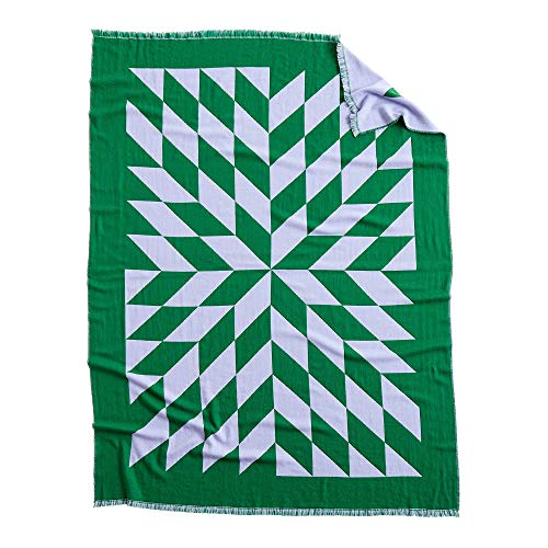 Star Decke 180x130cm, lavendel grün doppelt gewebt Merino Wolle