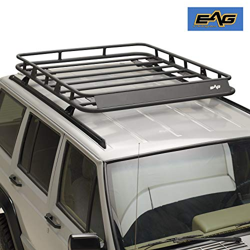 EAG Black Steel Roof Rack Cargo Basket Fit for 84-01 Cherokee XJ