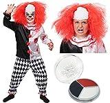 Déguisement Halloween Clown Tueur Garçon - Compris: Une Veste ensanglantée et Pantalon à Carreaux avec perruque et peinture pour le visage - Idéal pour vos fêtes d'halloween - Taille Large