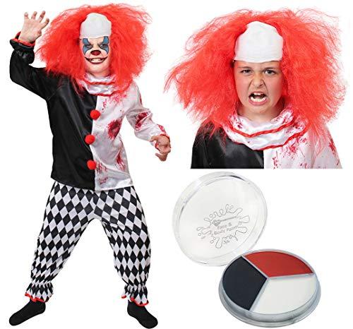 I LOVE FANCY DRESS LTD Kinder Horror Clown KOSTÜM Verkleidung = Halloween=Das KOSTÜM IST ERHALTBAR MIT ODER OHNE ZUBEHÖR = Fasching Karneval = Grusel = PERRÜCKE+ Make up +KOSTÜM (SMALL)
