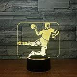 KangYD Athlète de handball de jeu de lumière de nuit 3D, lampe d'illusion optique de LED, B - Base Noire à Distance (16 couleurs), Décor de bar, Cadeau de décoration, Cadeau d'anniversaire