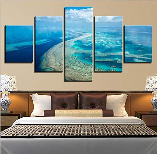Cartel de arte de pared impreso de alta definición imagen de marco moderno 5 paisaje marino agua del grifo decoración del hogar lienzo de oficina pintura de paisaje modular