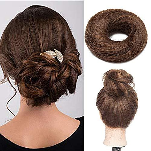 Haargummi mit Haaren Haarteile Echthaar Haargummi für Haarknoten Haarteil Dutt 100% Human Hair Glatt Hochsteckfrisuren 17 Gramm 04# Mittelbraun