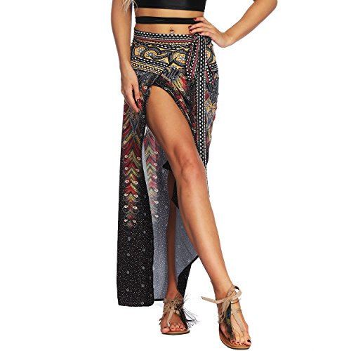 Nuofengkudu Damen Lange Hippie Rocke Luftige Boho Thai Muster Binden Taille Elegante Zigeuner Maxi Röcke Skirts Schwarz Pfau