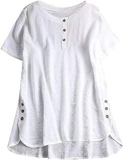 Aniywn Women Plus Size Round Neck T-Shirt Summer Loose Short Sleeve Kaftan Casual Linen Button Tunic Blouse