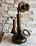 AILISH INTERNATIONAL Vintage Look Full Solid Brass Candlestick Rotary DIAL Telephone