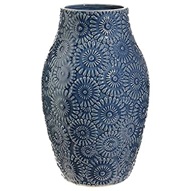 Tasteful Home Decor 11.5  Blue Medallion Flower Vase