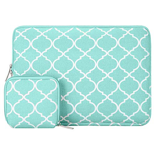 MOSISO Laptop Sleeve Compatible with 13-13.3 inch MacBook Pro, MacBook Air, Notebook Computer, Canvas Quatrefoil Bag Cover with Small Case, Hot Blue