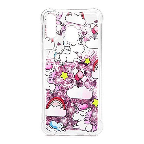 Voor Samsung Galaxy M20 Case, Crystal Shiny Meisje Vrouwen 3D Schilderen Glitter Vloeibare Drijvende TPU Bumper Clear Siliconen Gel Schokbestendige Bling Beschermende Telefoonhoes voor Samsung Galaxy M20 Bulldog Balloon unicorn
