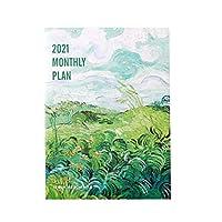 TYOP 2021毎週と毎月のプランナー、大規模なオフィススケジュールブック、石油絵画アートリスト (Color : Green)