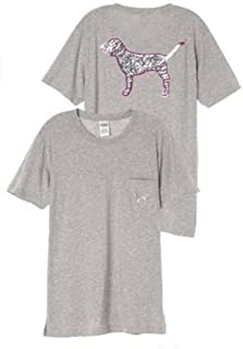 Victoria's Pink Short Sleeve Campus Tee Bling Dog Graphic Gray