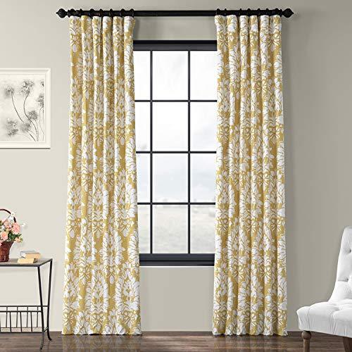 HPD Half Price Drapes PRTW-D46A-96 Lacuna Printed Cotton Twill Curtain,Sun,50 X 96