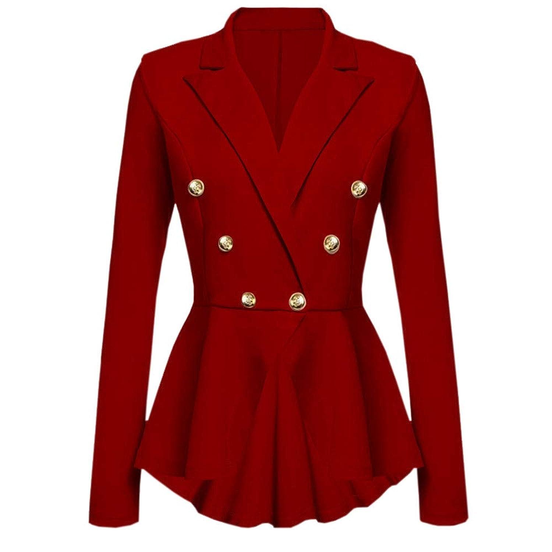 女性のジャケット、三番目の店 レディース 長袖 ブレザー フリル ボタン カジュアル コート ジャケット