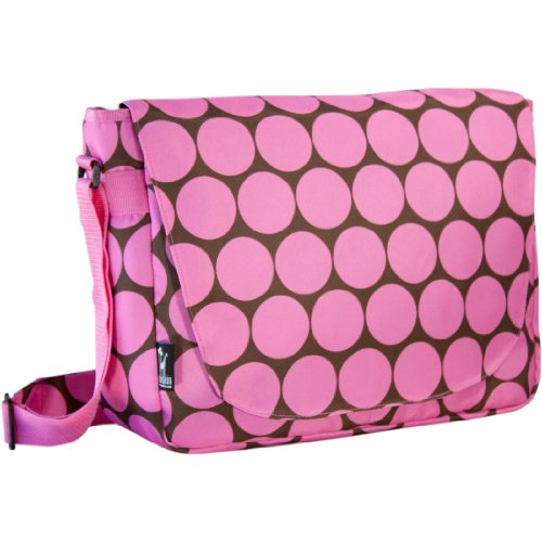 Wildkin Kids Laptop Messenger Bag for Boys and Girls, Fits Laptops and Tablets up to 17 Inches, Perfect Size for Packing Items for School or Travel, 600-Denier Polyester Fabric,BPA-free(Big Dots Pink)