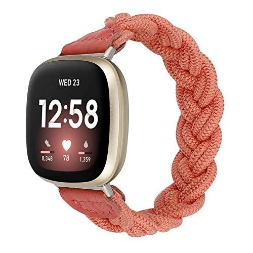 Wearlizer Banda elástica compatible con Fitbit Versa 3 / Fitbit Sense Bands para mujeres, Slim Solo Loop Braided Strap Band Stretch Woven Accesorio de repuesto para Versa 3 / Sense (rosa, pequeño)