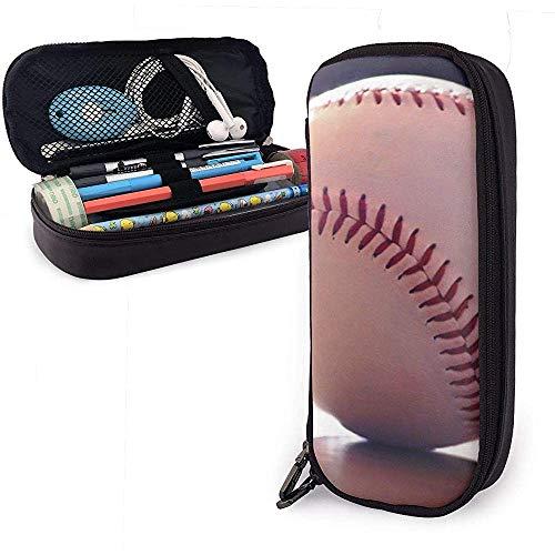 PU lederen etui met rits, honkbal ballen grote capaciteit opslag marker case pen houder-M3-0M1