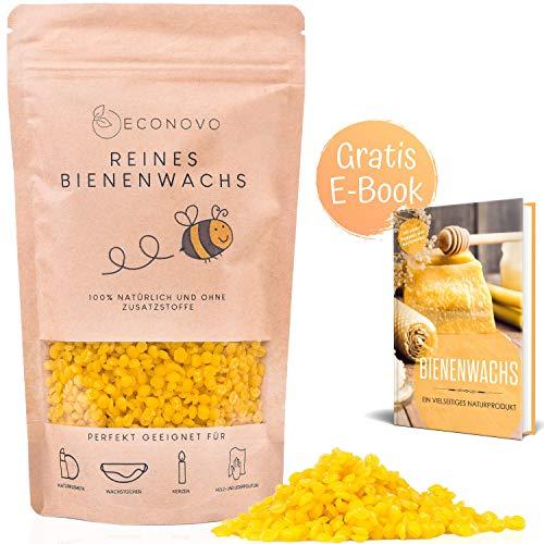 Econovo® zertifiziertes Bienenwachs ohne Zusätze - 100g gelbe Bienenwachs Pastillen vom Imker für Kosmetik, Bienenwachstücher, Kerzen, Holz- und Lederpflege (inkl. E-Book mit Rezepten)