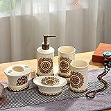 FNMDP Retro Palacio Baño Cinco Piezas Full Floring Hibiscus Conjunto de cerámica Crafts Hogar Necesidades diarias