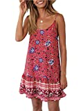 Uni Clau Womens Summer Beach Dress - Paisley Spaghetti Strap Backless A line Swing Casual Sundress Beachwear Cotton Red
