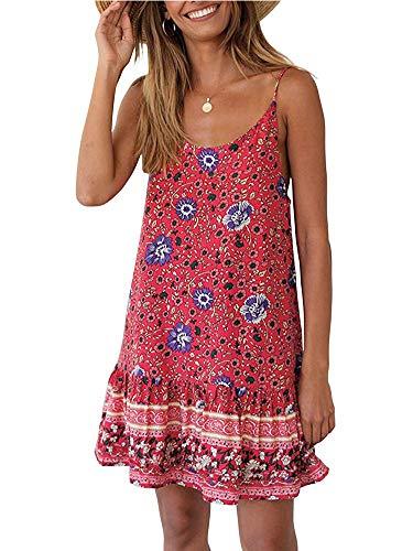 Uni Clau Womens Summer Beach Dress - Paisley Spaghetti Strap Backless A line Swing Casual Sundress Beachwear Cotton Red