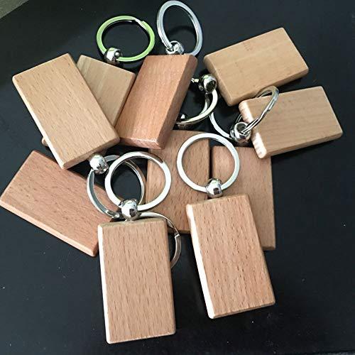 MoonyLI Holzanhänger Schlüsselbund Holz Lünette Anhänger Personalisierte Blank Holz Schlüsselanhänger Anhänger Rohlinge mit Schlüsselringen DIY Craft Rechteck Runde Schlüsselanhänger 10Pcs