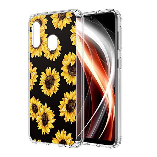 Pnakqil Funda Samsung Galaxy A20e, Silicona Transparente con Dibujos Diseño Slim TPU Antigolpes Ultrafina de Protector Piel Case Cover Cárcasa Fundas para Movil Samsung GalaxyA20e, Girasol Negra